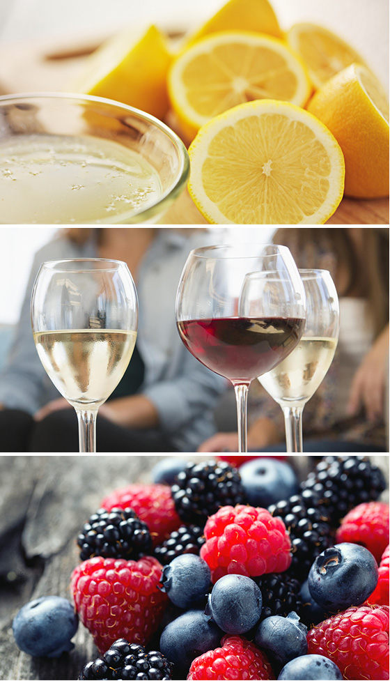 Acidic Foods Including Oranges, Wine, and Berries